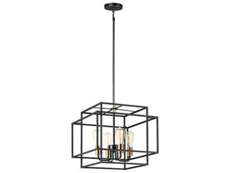 Maxim Lighting Liner Black / Satin Brass 17'' Wide Mini Chandelier