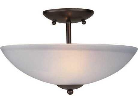 Maxim Lighting Logan Oil Rubbed Bronze & Frosted Glass Two-Light 13'' Wide Semi-Flush Mount Light