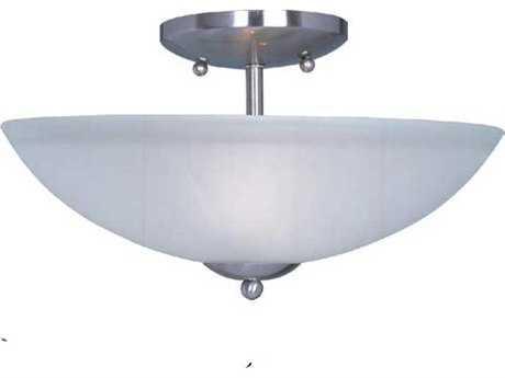 Maxim Lighting Logan Satin Nickel & Frosted Glass Two-Light 13'' Wide Semi-Flush Mount Light