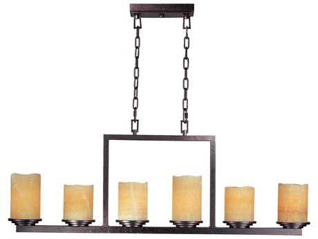 Maxim Lighting Luminous Rustic Ebony & Stone Candle Glass Six-Light 45'' Long Island Light MX21148SCRE