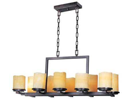 Maxim Lighting Luminous Rustic Ebony & Stone Candle Glass Ten-Light 37'' Long Island Light MX21149SCRE
