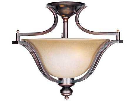 Maxim Lighting Madera Oil Rubbed Bronze & Wilshire Glass Three-Light 20'' Wide Semi-Flush Mount Light MX10171WSOI