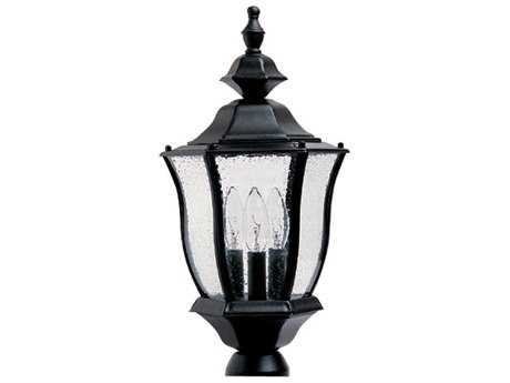 Maxim Lighting Madrona Black & Seedy Glass Three-Light 9.5'' Wide Incandescent Outdoor Post Light