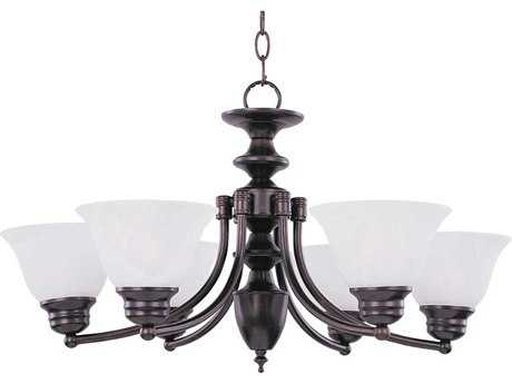 Maxim Lighting Malaga Oil Rubbed Bronze Six-Light 26 Wide Chandelier with Marble Glass MX2684MROI