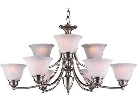 Maxim Lighting Malaga Satin Nickel Nine-Light 31.5 Wide Chandelier with Frosted Glass