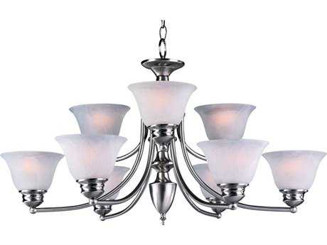 Maxim Lighting Malaga Satin Nickel Nine-Light 31.5 Wide Chandelier with Marble Glass