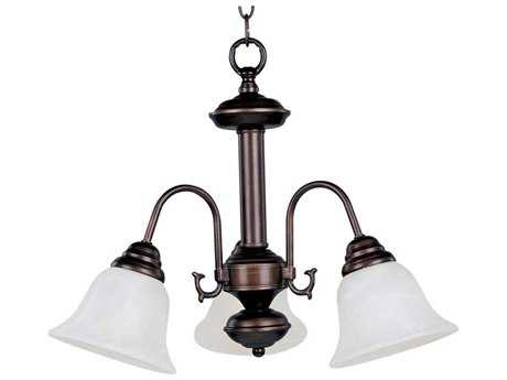 Maxim Lighting Malaga Oil Rubbed Bronze Three-Light 20 Wide Mini-Chandelier with Marble Glass MX2697MROI