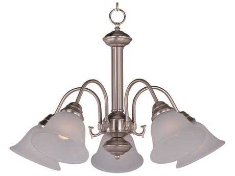 Maxim Lighting Malaga Satin Nickel Five-Light 24 Wide Mini-Chandelier with Frosted Glass MX2698FTSN