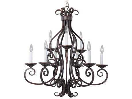 Maxim Lighting Manor Oil Rubbed Bronze Nine-Light 29 Wide Chandelier MX12216OI