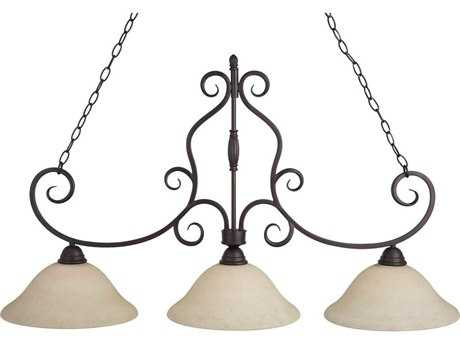 Maxim Lighting Manor Oil Rubbed Bronze & Frosted Ivory Glass Three-Light 45'' Long Island Light MX12208FIOI