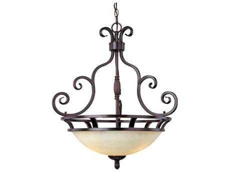 Maxim Lighting Manor Oil Rubbed Bronze & Frosted Ivory Glass Three-Light 23'' Wide Pendant Light MX12202FIOI