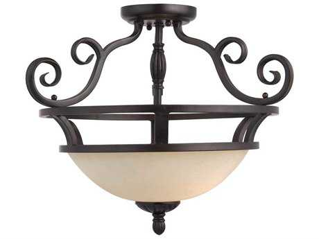 Maxim Lighting Manor Oil Rubbed Bronze & Frosted Ivory Glass Two-Light 19.5'' Wide Semi-Flush Mount Light MX12201FIOI