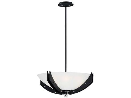 Maxim Lighting Merge Black / Wenge Four-Light 22'' Wide LED Convertible Pendant / Semi-Flush Mount Light MX39511CLBKWE