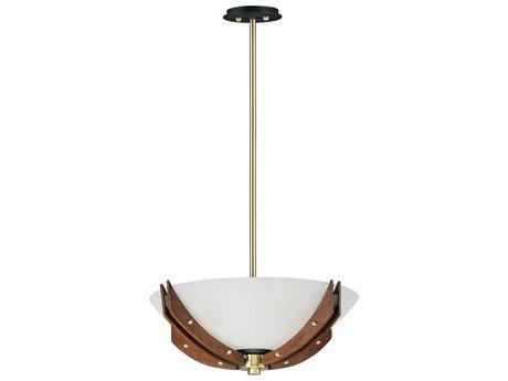 Maxim Lighting Merge Bronze / Antique Pecan Four-Light 22'' Wide LED Convertible Pendant / Semi-Flush Mount Light MX39511CLBZAP