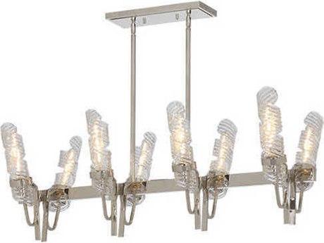 Maxim Lighting Milano Polished Nickel 42'' Wide Glass Island Light MX39558CLPN