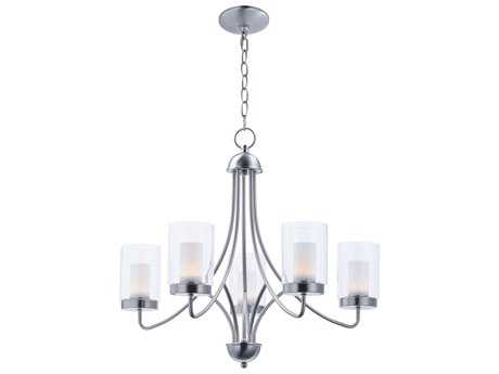 Maxim Lighting Mod Satin Nickel with Clear & Frosted Glass Five-Light 26'' Wide LED Chandelier