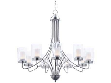 Maxim Lighting Mod Satin Nickel with Clear & Frosted Glass Nine-Light 31'' Wide LED Chandelier