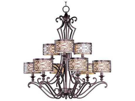 Maxim Lighting Mondrian Umber Bronze Nine-Light 34 Wide Chandelier MX21156WHUB