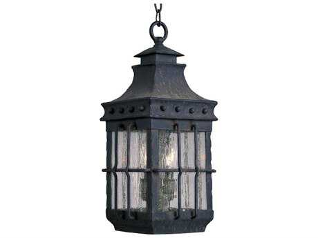 Maxim Lighting Nantucket Country Forge & Seedy Glass Three-Light 8.5'' Wide Incandescent Outdoor Hanging Light