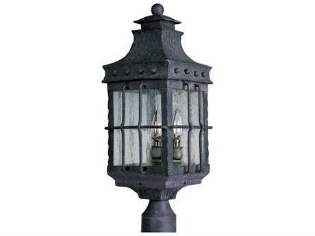 Maxim Lighting Nantucket Country Forge & Seedy Glass 8.5'' Wide Incandescent Three-Light Outdoor Post Light MX30080CDCF