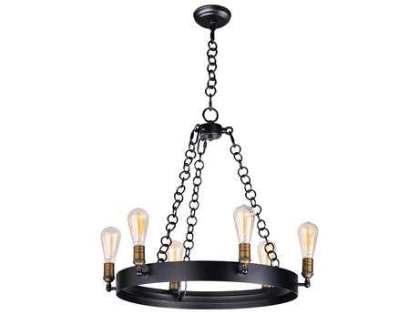 Maxim Lighting Noble Black & Natural Aged Brass Six-Light 26'' Wide Chandelier with Bulb