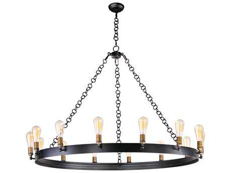 Maxim Lighting Noble Black & Natural Aged Brass 14-Light 50'' Wide Grand Chandelier without Bulb MX26276BKNAB