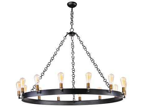 Maxim Lighting Noble Black & Natural Aged Brass 14-Light 50'' Wide Grand Chandelier with Bulb MX26276BKNABBUI