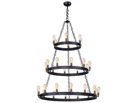 Maxim Lighting Noble Black & Natural Aged Brass 30-Light 50'' Wide Grand Chandelier MX26278BKNAB