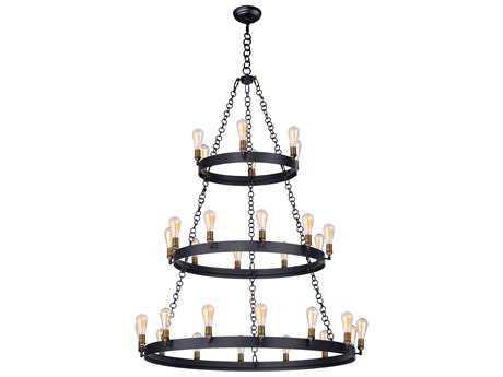 Maxim Lighting Noble Black & Natural Aged Brass 30-Light 50'' Wide Grand Chandelier with Bulb MX26278BKNABBUI