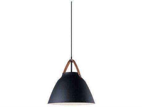 Maxim Lighting Nordic Tan Leather / Black 14'' Wide Pendant MX11356TNBK