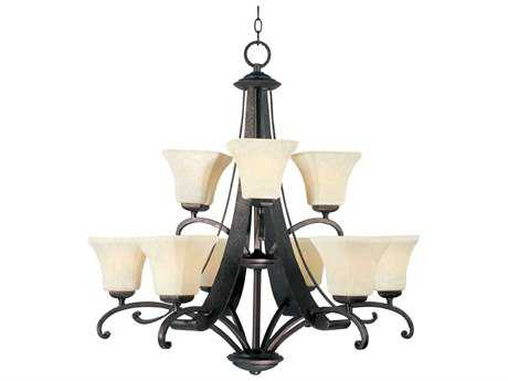 Maxim Lighting Oak Harbor Rustic Burnished Nine-Light 31.5 Wide Chandelier MX21066FLRB