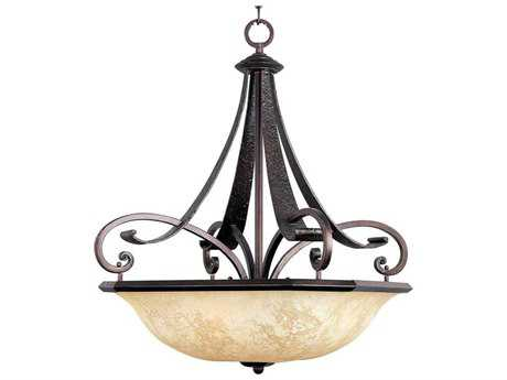 Maxim Lighting Oak Harbor Rustic Burnished & Frost Lichen Glass Four-Light 26'' Wide Pendant Light MX21077FLRB