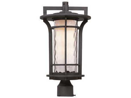 Maxim Lighting Oakville Black Oxide & Water Glass 10'' Wide Incandescent Outdoor Post Light