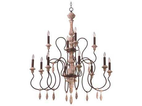 Grand Chandelier Maxim Lighting Olde World Senora Wood 12-Lights 44'' Wide Grand Chandelier MX39609SW