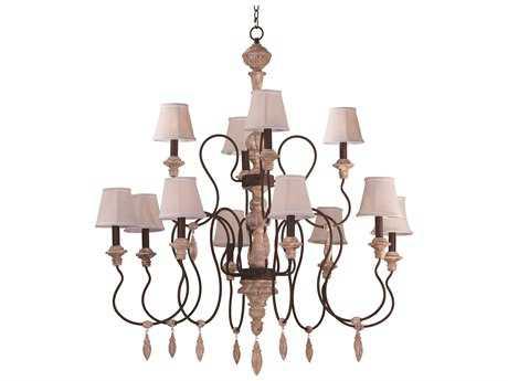 Grand Chandelier Maxim Lighting Olde World Senora Wood 12-Lights 44'' Wide Grand Chandelier MX39609SWSHD396