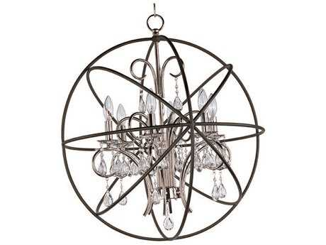 Maxim Lighting Orbit Anthracite & Polished Nickel Six-Light 25 Wide Chandelier MX25144ARPN