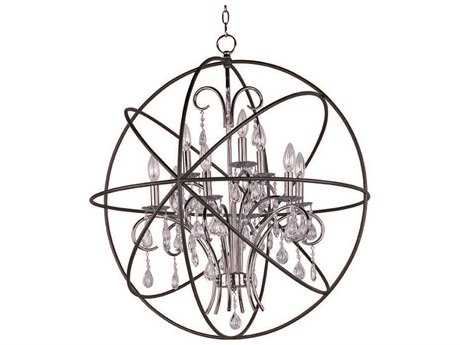 Maxim Lighting Orbit Anthracite & Polished Nickel Nine-Light 30'' Wide Chandelier MX25145ARPN