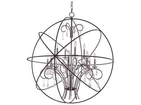 Maxim Lighting Orbit Anthracite and Polished Nickel 12-Light 40'' Wide Grand Chandelier MX25147ARPN