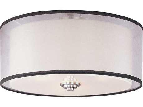 Maxim Lighting Orion Satin Nickel & Satin White Glass Three-Light 15'' Wide Flush Mount Light MX23031SWSN
