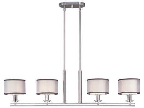 Maxim Lighting Orion Satin Nickel & Satin White Glass Four-Light 41.5'' Long Island Light MX23039SWSN