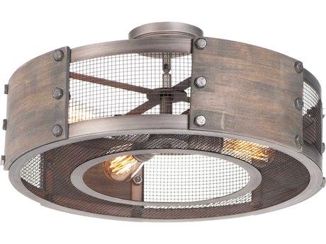 Maxim Lighting Outland Barn Wood / Weathered Zinc 4-light 22'' Wide Industrial Semi-Flush Mount