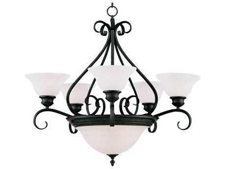 Maxim Lighting Pacific Kentucky Bronze Seven-Light 27 Wide Chandelier with Marble Glass MX2656MRKB