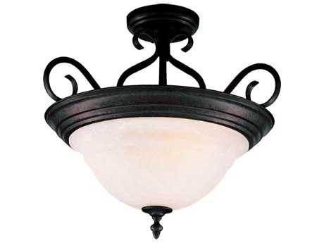 Maxim Lighting Pacific Kentucky Bronze & Marble Glass Three-Light 18.5'' Wide Semi-Flush Mount Light MX2652MRKB