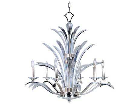 Maxim Lighting Paradise Plated Silver Six-Light 34 Wide Grand Chandelier MX39945BCPS