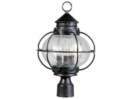 Maxim Lighting Portsmouth Oil Rubbed Bronze & Seedy Glass Three-Light 12'' Wide Outdoor Post Light