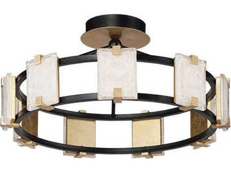 Maxim Lighting Radiant Black / Gold Leaf 26'' Wide Glass LED Semi-Flush Mount MX39530CYBKGL