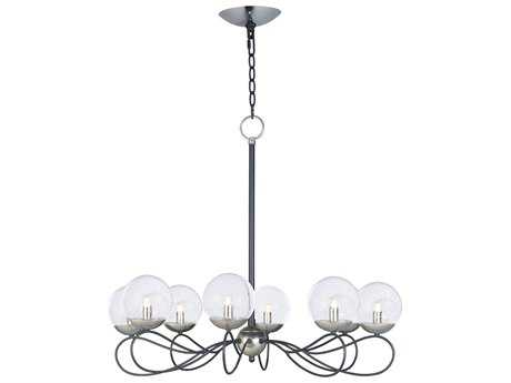 Maxim Lighting Reverb Textured Black & Polished Nickel with Bubble Glass Eight-Light 31'' Wide Chandelier