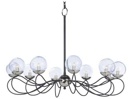 Maxim Lighting Reverb Textured Black & Polished Nickel with Bubble Glass Ten-Light 38'' Wide Chandelier