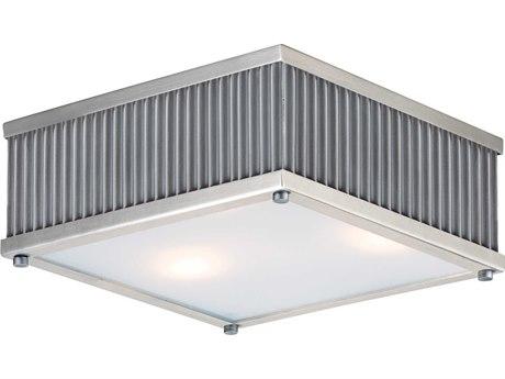 Maxim Lighting Ruffle Weathered Zinc / Satin Nickel Three-Light 13'' Wide  Flush Mount Light
