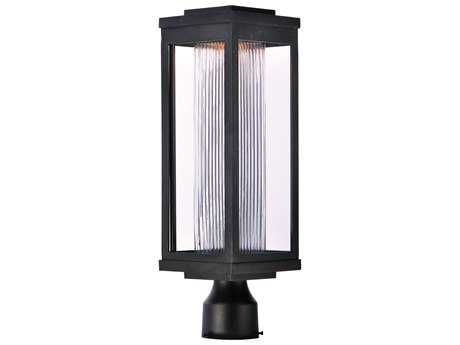Maxim Lighting Salon Black with Clear Ribbed Glass LED Outdoor Post Light MX55900CRBK
